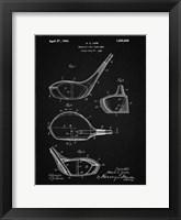 Framed Metallic Golf Club Head Patent - Vintage Black