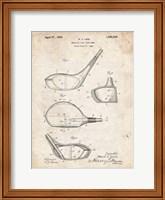 Framed Metallic Golf Club Head Patent - Vintage Parchment