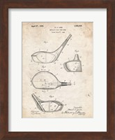 Framed Metallic Golf Club Head Patent - Vintage Parchment