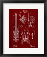 Framed Machine Gun Patent - Burgundy