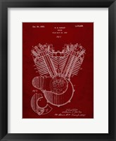 Framed Engine Patent - Burgundy