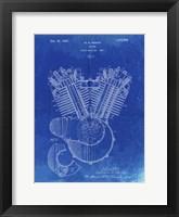 Framed Engine Patent - Faded Blueprint