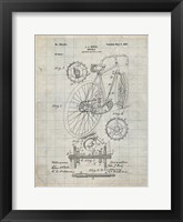 Framed Bicycle Patent - Antique Grid Parchment