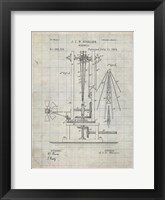 Framed Windmill Patent - Antique Grid Parchment