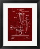 Framed Windmill Patent - Burgundy