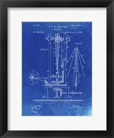 Framed Windmill Patent - Faded Blueprint