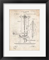 Framed Windmill Patent - Vintage Parchment