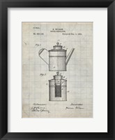 Framed Coffee Percolator Patent - Antique Grid Parchment