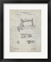 Framed Sewing Machine Patent - Antique Grid Parchment