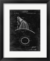 Framed Fireman's Hat Patent - Black Grunge