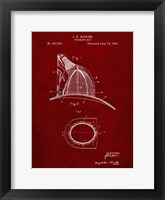 Framed Fireman's Hat Patent - Burgundy