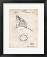 Framed Fireman's Hat Patent - Vintage Parchment