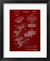 Framed Toy Building Brick Patent - Burgundy