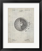 Framed Golf Ball Patent - Antique Grid Parchment