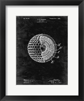 Framed Golf Ball Patent - Black Grunge