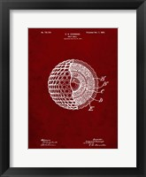 Framed Golf Ball Patent - Burgundy