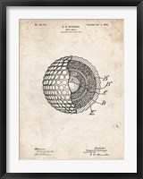 Framed Golf Ball Patent - Vintage Parchment