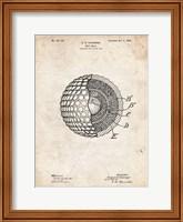Framed Golf Ball Patent - Vintage Parchment