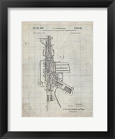 Framed Firearm With Auxiliary Bolt Closure Mechanism Patent - Antique Grid Parchment