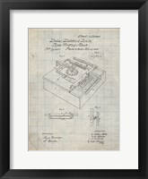 Framed Type Writing Machine Patent - Antique Grid Parchment
