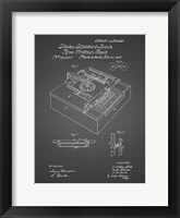 Framed Type Writing Machine Patent - Black Grid