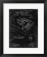 Framed Type Writing Machine Patent - Black Grunge