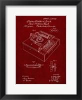 Framed Type Writing Machine Patent - Burgundy