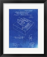 Framed Type Writing Machine Patent - Faded Blueprint