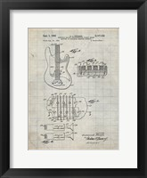 Framed Electric Guitar Patent - Antique Grid Parchment