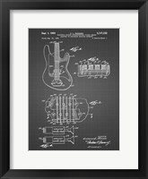 Framed Electric Guitar Patent - Black Grid