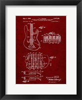 Framed Electric Guitar Patent - Burgundy