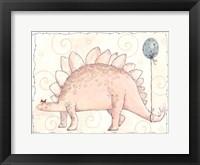 Framed Miss Pink Stegosaurus and Blue Balloon