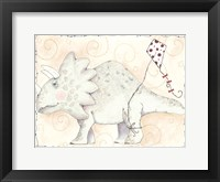 Framed Mr Triceratops Flys a Kite