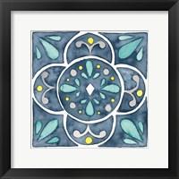Framed Garden Getaway Tile VII Blue