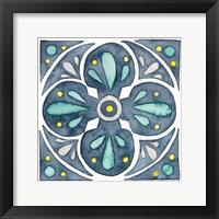 Framed Garden Getaway Tile VI Blue