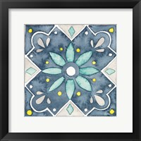 Framed Garden Getaway Tile V Blue