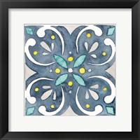 Framed Garden Getaway Tile IV Blue
