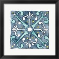 Framed Garden Getaway Tile III Blue