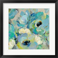 Framed Fresh Teal Flowers III
