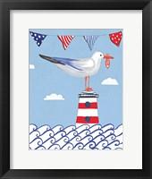 Framed Coastal Bird I Flags on Blue