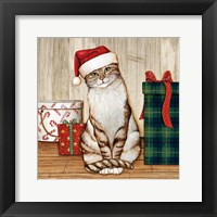 Framed Christmas Kitty on Planked Wood