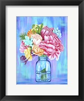 Framed Colorful Flowers in Mason Jar