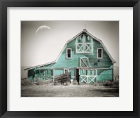 Framed Teal Green Luna Barn
