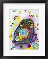 Framed Lavender Owl
