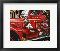 Framed Dalmation Christmas Firetruck