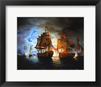 Framed Bonhomme Richard And Serapis Battle