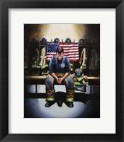 Framed Praying Firefighter