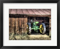 Framed Deere in the Barn