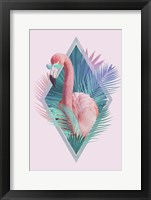 Framed Tropical Leaves & Flamingo