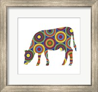 Framed Cow Abstract Circles